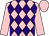 Pink and purple diamonds, pink sleeves and cap (Mr E Tuer)