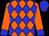 Orange, blue diamonds, blue cuffs on sleeves, blue cap (Lewis Greenspan)
