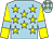 Light blue, yellow stars, yellow sleeves, light blue armlets (Pam Ties)