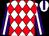 White & red diamonds, white stripe on purple sleeves, purple stripe on white cap (Kimberley Syndicate)