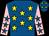 Royal blue, yellow stars, royal blue stars on pink sleeves (Kathy Ma So Lan)