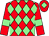 Red and light green diamonds, red sleeves, light green armlets and diamond on cap (Highbeck Racing)