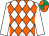 White & orange diamonds, white sleeves, emerald green & orange quartered cap (Miss Louise Austin)