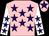 Pink, purple stars, white sleeves, purple stars, pink cap, purple star (Brian Willis)