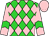 Lime green, pink diamonds, lime green chevron on pink sleeves, pink cap (George Nyren)