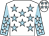 White, light blue stars, light blue sleeves, white stars and stars on cap (Jacqueline And John Conroy)
