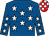 Royal blue, white stars, red and white checks and checked cap (Makybe Racing & Breeding Pty Ltd (mgr: T M Santic))