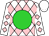 White, pink diamonds, lime ball, white cap (Gayle Stegmann)