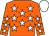 Orange body, white stars, orange arms, white stars, white cap (Mme F De Vito)