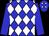 Blue, white diamonds, green band on sleeves (Alan Zabiegala)