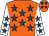 Orange, royal blue stars, white sleeves, royal blue stars (Mr J T Stimpson)