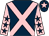 Dark blue, pink cross belts, pink sleeves, dark blue stars, dark blue cap, pink star (Bawtry Racing Club)