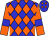 Blue, orange diamonds, blue bars on orange sleeves (Ownthetail Llc)