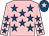 Pink, royal blue stars, royal blue cap, pink star (Ms Christine Thomas & Mr Jim Hoyland)