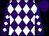 Purple, white diamonds, white diamonds on sleeves, purple cap (Ralph Whitney)