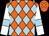 Orange and light blue diamonds, white sleeves, light blue armlets (Saga Spirit Partnership)