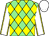 Light green & yellow diamonds, white sleeves, yellow seams, white cap (David Needham)