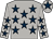 Light grey, dark blue stars, dark blue star on cap (Jj Montagne)