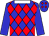 Blue and red diamonds, white collar, blue sleeves (Mark Gory)