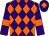 Purple and orange diamonds, purple sleeves, orange armlets and diamond on cap (Smarden Thoroughbreds)