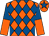 Orange & royal blue diamonds, halved sleeves, royal blue star on cap (Michael P Heery)