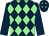 Dark blue and light green diamonds, dark blue sleeves (Wells House Racing)