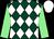 Dark green and white diamonds, light green sleeves, white cap (Paul Nicholls & Jack Barber)