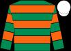 Emerald green & orange hooped, white cap (John P McManus)