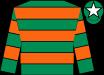 Emerald Green & Orange Hooped, emerald green cap, white star (John P McManus)