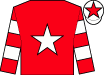 Red, white star, hooped sleeves, white cap, red star (B Parker)