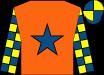 Orange, royal blue star, yellow & royal blue check sleeves, yellow & royal blue quartered cap (David Gordon Roberts)