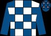 White & royal blue check, royal blue sleeves, royal blue cap, pink stars (Fibbage Syndicate)