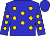 Blue, gold dots, blue cap (Cannon Thoroughbreds, Llc)
