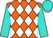 Orange and white diamonds, turquoise sleeves, turquoise cap (Rancho Ballena, Inc)