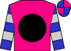 Magenta, Black ball, silver hoops on blue sleeves, blue and magenta quartered  cap (George Krikorian)