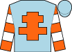 light blue, orange cross of lorraine, orange and white hooped sleeves, (Fung Ka Pun & Lucia Fung)