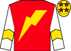 Red, gold lightning bolt, gold chevron on white sleeves, red stars on gold cap (Healthy Rich Syndicate)