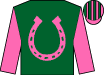 Kelly green, hot pink horseshoe, hot pink sleeves, kelly green hoop, hot pink and kelly green stripes on cap (Funky Munky Stable Llc)