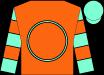 Orange, aqua circle, aqua sleeves, orange hoops, aqua cap (Carl Lizza Racing Stables, Llc)