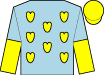 Light blue, yellow hearts, light blue and yellow halved sleeves, yellow cap (Brooks, Robert)
