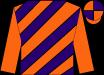 Orange and purple diagonal stripes, orange sleeves, orange and purple quartered cap (Nirvana Stables)