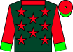 Dark green, red stars and collar, red sleeves, green cuffs, red cap, green visor and button (Starview Stable And Morton, Tobey L)