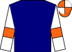 Navy blue, orange bars on white sleeves, orange and white quartered cap (Agave Racing Stable And Little Red Feather Racing)