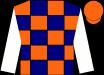 Navy and orange checks, white sleeves, orange cap (Bonne Chance Farm, Llc And Stud R D I, Llc)