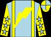 Light blue, yellow braces, yellow lightning bolt, yellow sleeves, light blue stars, yellow and light blue quartered cap (Matthew Schera)