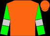 Orange, silver bars on green sleeves, orange cap (Don Alberto Stable)