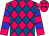 Cerise and royal blue diamonds, cerise sleeves, blue hoops (Tri County Stables)