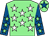 Light green, white stars, royal blue sleeves, light green stars, light green cap, royal blue star (The Jago Family Partnership)