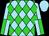 Sky blue, lime green diamonds, sky blue and lime green quartered sleeves, sky blue cap (Equivine Farm)