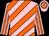 Pink, orange diagonal stripes, striped sleeves, hooped cap (Mr Tyrone Zackey)
